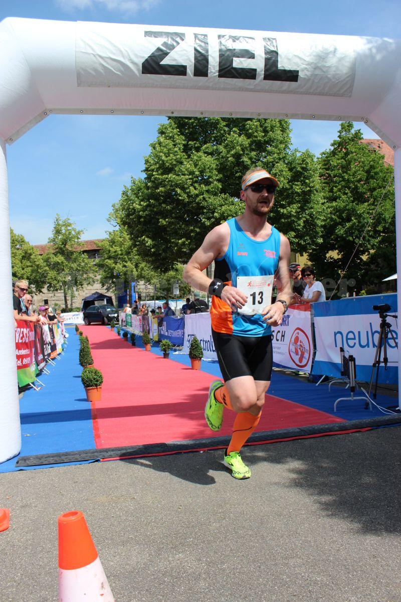 Zieleinlauf Ronny beim 7. Rothenburger Halbmarathon