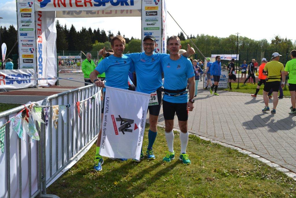 Georg Keim, Roland Landwehr und René Wagner vor dem Start