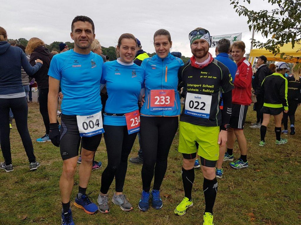 steide-runners beim Muswiesenlauf in Rot am See v.l. Harald, Julia, Tina und Ronny