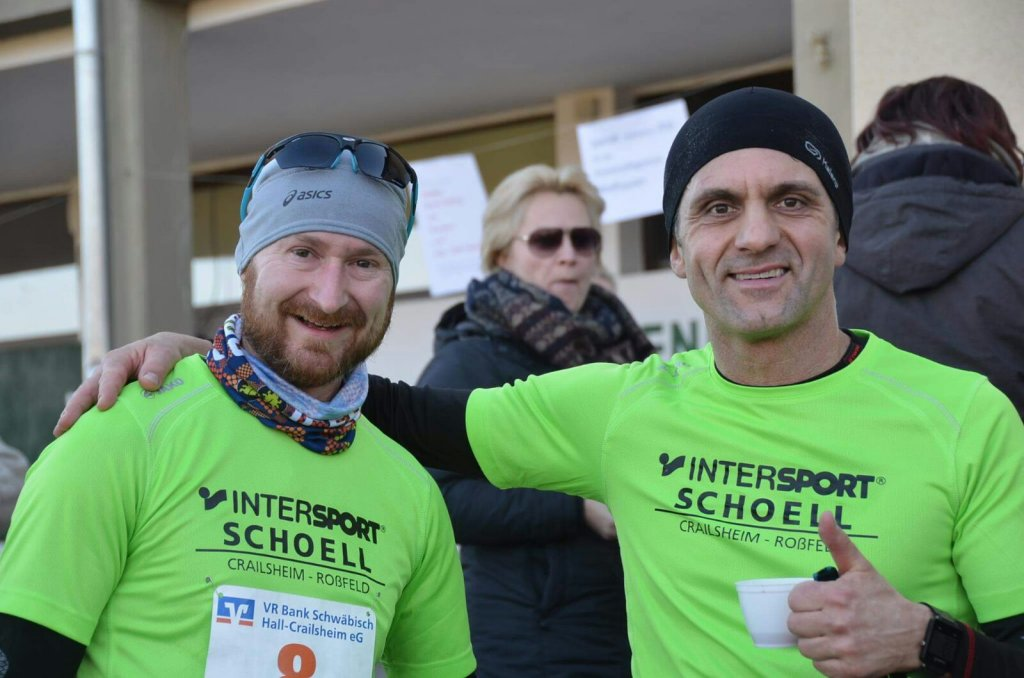 Ronny und Harald beim 30. Hohenloher Silvesterlauf in Hengstfeld