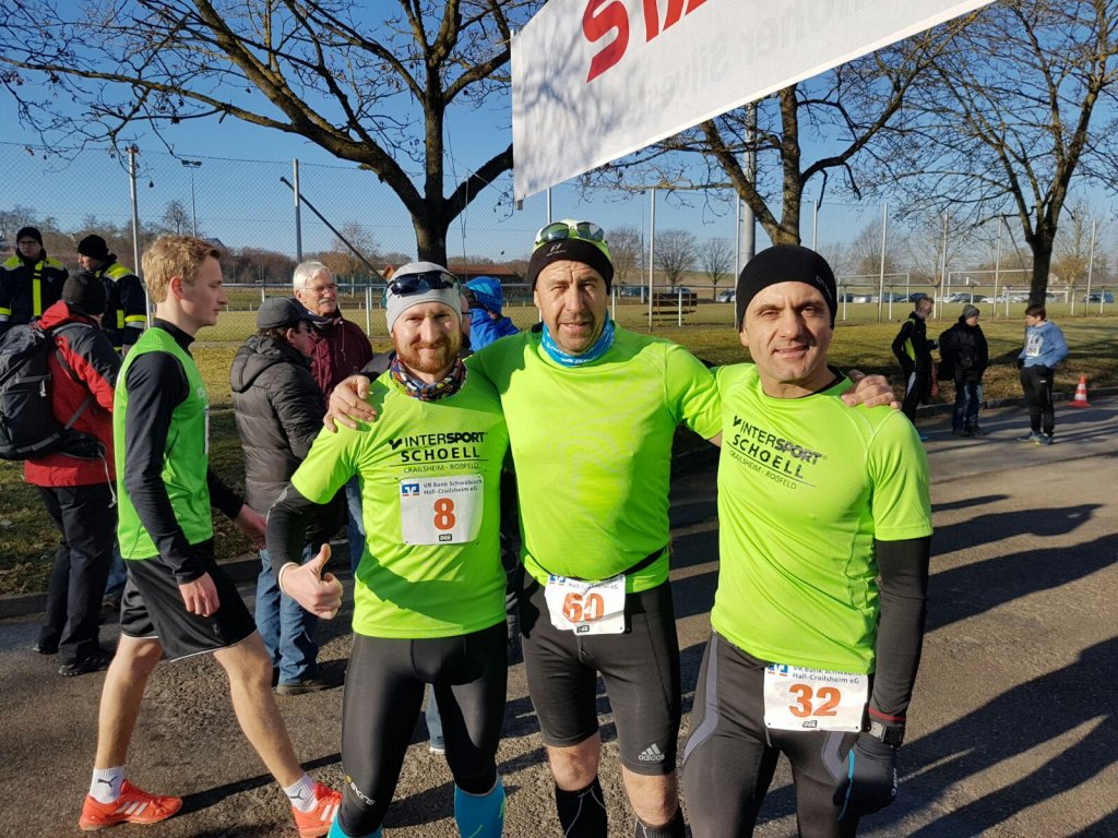 Ronny, Andreas und Harald beim 30. Hohenloher Silvesterlauf in Hengstfeld
