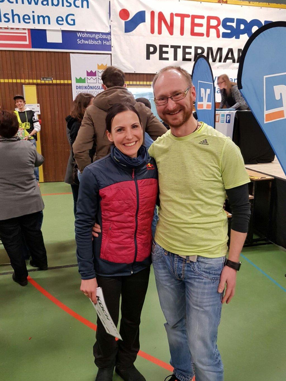 Sabrina Mockenhaupt (Mocki) und Ronny Grosser beim 32. Dreikönigslauf Schwäbisch Hall