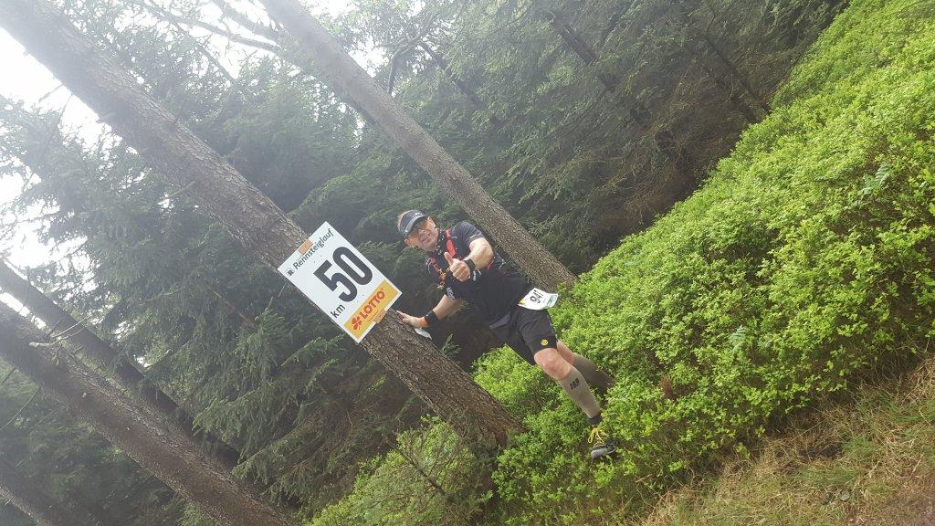 Armin bei km50 des Rennsteig Supermarathons