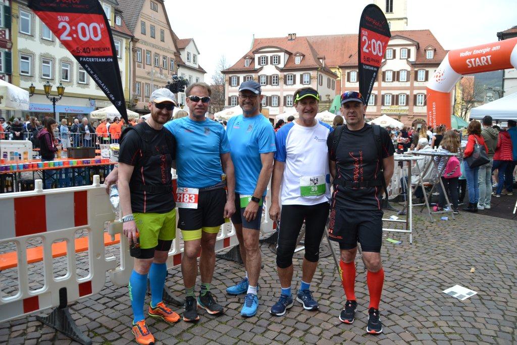 Ronny, Georg, Roland, Rainer und Armin beim 14. Stadtlauf Bad Mergentheim