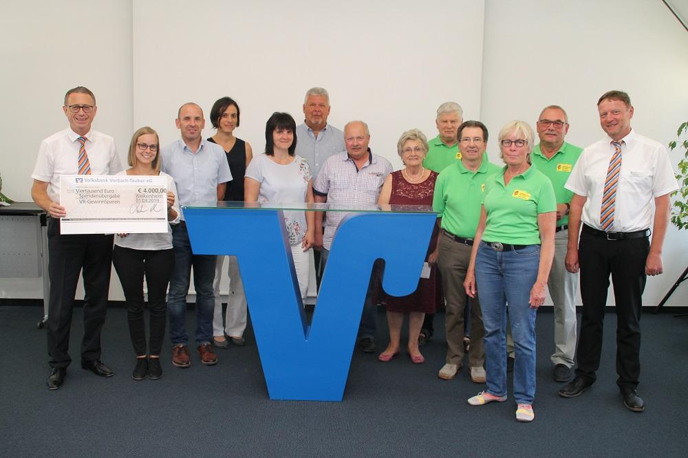 Spendenübergabe der Volksbank Vorbach-Tauber